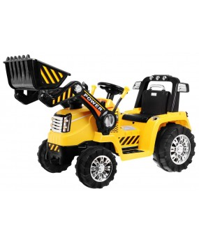 Elektrický traktor s lyžicou žltý